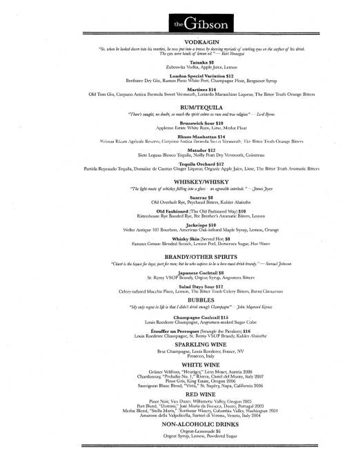 The Gibson, Opening Night Menu